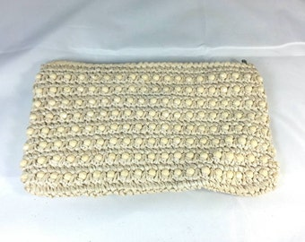 Vintage Creme Beaded Crochet Bag Signed ADG Fashion Imports Made in Japan