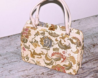Vintage 1960s Verdi Tapestry Handbag, Phoenix and Lion Floral 60s Purse