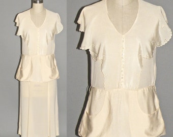 Vintage 1940s Dress, 40s Silk Dress, Casual Cream Wedding Dress XS