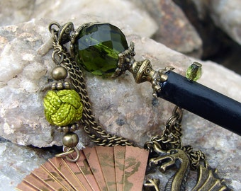 Olivine Green Dragon and Folding Fan Hair Stick with Antique Bronze Accents - Annabelinda