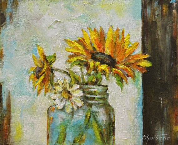 Original acrylic painting sunflowers modern by mgoriginalart for How to paint sunflowers in acrylic