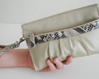 Soft Genuine Leather Wristlet or Clutch Snake print leather, Vintage