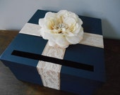 Navy Wedding Card Box with Champagne and Ivory Lace, Ivory Rose with Pearl and Rhinestone, You customize colors
