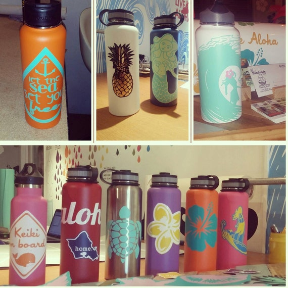 Hydro flask stickers custom decals for your hydroflask pineapple stickers custom name sticker personalized sticker Handmade in Kailua Hawaii