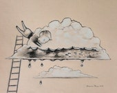 There's water in this cloud - book series - original graphite and colored pencil drawing on pastel colored paper