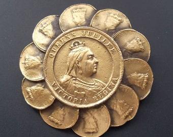 Vintage Queens Jubilee Victoria Pin Brooch Cast Metal Coin Portrait  Commemorative Jewelry