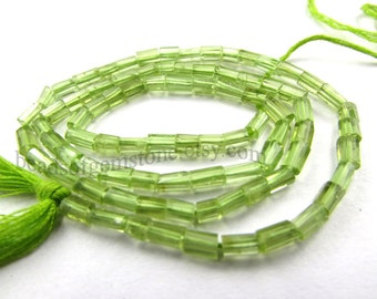 Peridot Faceted Tube (Quality A+)  / 3 mm /  36 cm / 33 Carats / 81 Pieces / ST- 894