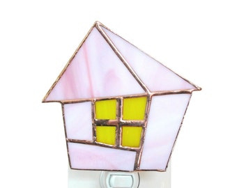 Pink Stained Glass Night Light Fairytale House Cottage Nursery Nightlight Handmade OOAK