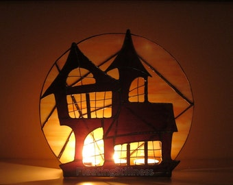 Halloween Stained Glass Candle Holder Decoration Haunted Mansion Wicca Lighting Orange Purple Handmade OOAK