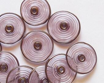 Pink Glass Disc Beads, FREE SHIPPING, Handmade Lampwork Spiral Beads With Metalic Rim - Rachelcartglass