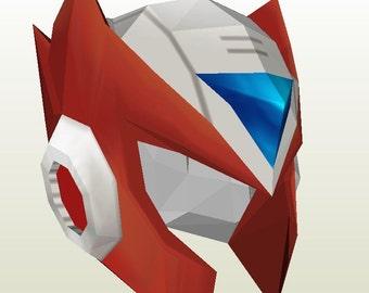 Megaman X Papercraft Pattern - Zero Helmet - Cosplay