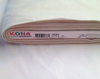 """Kona Solid """"Ivory"""" Color Yardage, Robert Kaufman Fabric By the Yard, Sewing Fabric, Quilting Fabric, Craft Fabric"""