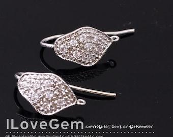 SALE/ 10pcs / NP-1599 Rhodium Plated, Cubic Earwires, Earhooks, Cubic earrings, Wedding Earrings, Bridesmaid earhooks, Bridal jewelry