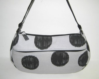 Medium Shoulder Bag in Gray with Large Black Polka Dots