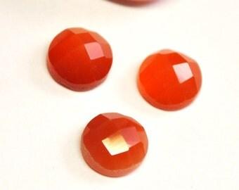 Carnelian Agate Round Faceted Cabochons - 3 pcs Parcel - 8.0 x 4.5 mm - 5.9 ct - 150128-15