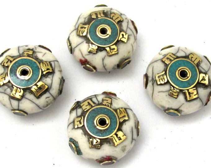 1 BEAD - Large 26 mm white crackle resin Tibetan Om mantra bead with brass , turquoise and coral inlay  - BD626