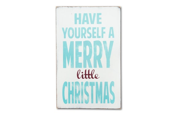 Christmas Signs, Have Yourself a Merry Little Christmas Painted Wall Art Robin Egg Blue and Crimson Red