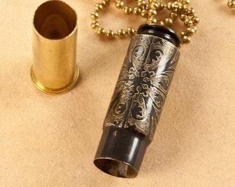 "Time capsule necklace ""Mediterranean Quadrants"" etched bullet casing pendant - bullet jewelry"
