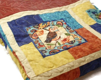 Twin/Full size Quilt/ Throw Quilt/ OWLS. Flowers, Gold, Turquoise, Dark Blue, Rust... love the Colors and the Beautiful Art
