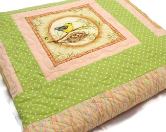 Throw sized Quilt with a Bird in Every Block, Peach, Green, Bird Nests, Fern Design Quilting, Couch Quilt, Wedding Gift, Child Size