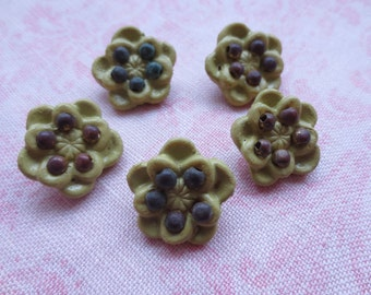 Beautiful mustard yellow flower design bead embellishment clay metal shank buttons. Wholesale lot of 5.