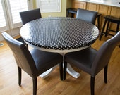 For toriespina laminated cotton aka oilcloth tablecloth fitted with elastic black with white polka dots print