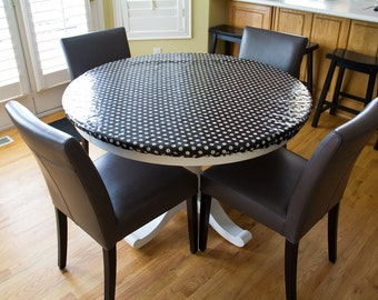 Oilcloth tablecloth, laminated cotton tablecloth, fitted elastic tablecloth, Custom size for any round or oval table Robert Kaufman prints
