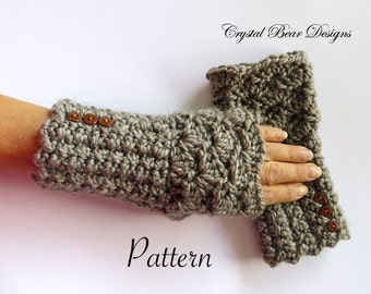 Fingerless Gloves PATTERN / Texting Mitts / Crochet Gauntlets / Arm Warmers / Chunky Crochet / Easy One Skein Pattern / PDF / Made in Canada