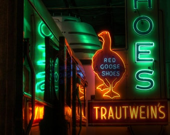 Red Goose Shoes, signage, vintage sign, Trautweins, vintage neon sign, shoe sign, vintage shoe sign, red goose