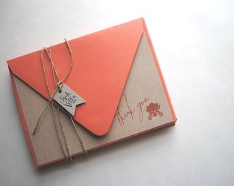 Lotus Thank You notecard set (set of 8), Rustic Modern Kraft Notecards, Thank You Flat Cards, Card Set
