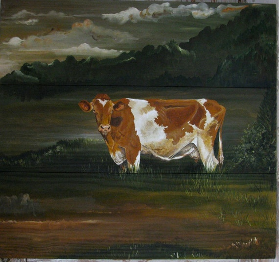Guernsey cow original painting on re-purposed wood