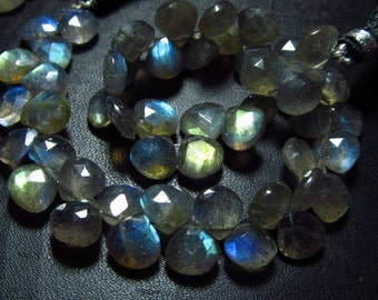 8 inches Full Strand - AAA High Quality - LABRADORITE - Faceted Heart Briolettes So Gorgeous Full Flashy Fire size - 8 - 9 mm approx