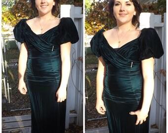 Green Velvet Gown Formal 80s Romantic Long Dress 11 S M