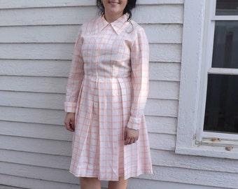 Vintage 60s Plaid Dress Serbin White Peach Zip Up Zipper Long Sleeve 1960s L