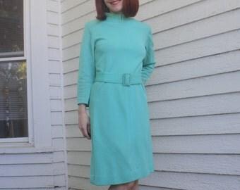 Aqua Wool Dress Mod Vintage 60s Carol Brent Long Sleeve S