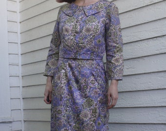 60s Floral Dress Purple Print Sleeveless with Bolero Vintage 1960s XS S