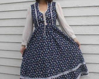Blue Floral Prairie Dress 70s Doni Girl California Country 5 XS Vintage Gunne Sax Style
