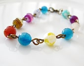 Agate Wire Bracelet, Brass Wire Bracelet, Agate Beaded Bracelet, Turquoise Agate Round, Agate Faceted Round Stone Wire Bracelet Purple Agate
