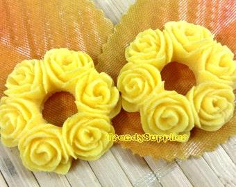 6pcs 25mm O-shaped Flower Bouquet Cabochon, Yellow (143)