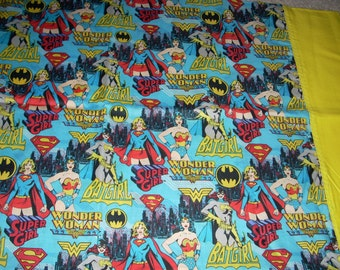 Female Superheroes Pillowcase with yellow trim - Supergirl, Wonder Woman, Batgirl - Fits Standard and Queen size pillows