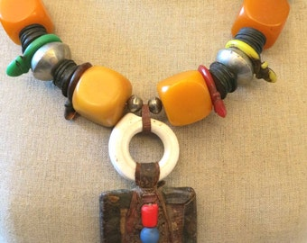 On Sale! Vintage Moroccan Berber faux simulated amber, Talhakimt, amulet necklace