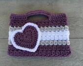Dark purple, gray, and White Valentines heart Purse Kids Crochet Purse Ready to Ship