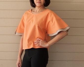 B005 .. Orange Double Layer Blouse