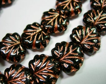 10 beads - Black with Copper Czech Glass Maple Leaf Beads 11x12mm