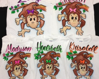 Airbrush Monkey T Shirt with Bow & Name Size 2t 3t 4t XS S M L XL Airbrushed T-Shirt