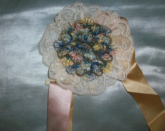 Superb french antique Ribbon work rosette of silk and metal 1920s