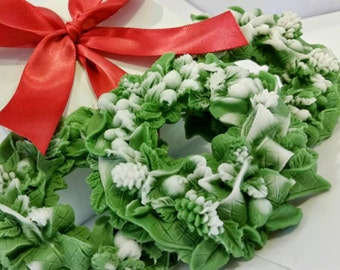 Set of Three Christmas Wreaths Soaps - Decorative Christmas Gift Soap - Vegan Soap - Hostess Gift Soap