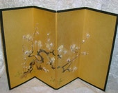 Vintage Asian Art Painted Tabletop Folding Screen, 11 and 7/8 Inches Tall, 19 Inches wide,  Gold W/ White Blossoms, Free Shipping