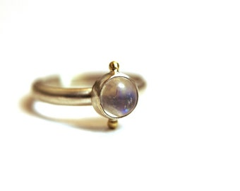 Moonstone Ring in 18 Karat Gold and Sterling Silver - size 7.5 ready to ship - rainbow moonstone - moonstone ring