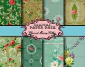Vintage Wallpaper Digital Paper Pack ON SALE!!! 8 Digital Collage Sheets - Vintage Floral Greens (1) Digital Download - INSTANT Download